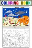 Meeresgrund mit Meerestieren Vektorfarbton für Kinder, Karikatur Stockbilder