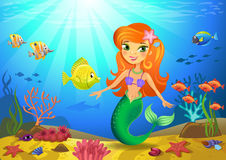Meeresgrund mit Meerjungfrau und Korallen Stockbild
