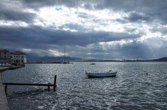 Meeresküste auf Kastela, adriatisches Meer, nahe Spalte, Kroatien Stockfotografie