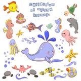 Meerestiere und Fische. stock abbildung
