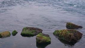 Meereswellenfelsenwasser stock video