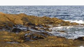 Meereswogen, die auf Steinen spritzen stock video