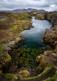 Meerhoogtepunt van muntstukken in het nationale park van Pingvellir, IJsland royalty-vrije stock foto
