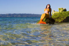 Meerjungfrau auf Seehintergrund Stockbild