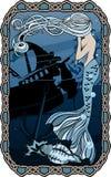 Meerjungfrau, die auf Hintergrund des versunkenen Schiffs schreit Lizenzfreie Stockfotografie