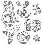 Meerjungfrau und andere Unterwassergegenstände Stockfotografie
