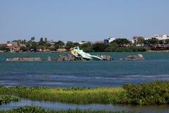 Meerjungfrau und Skyline von Petrolina und von Juazeiro in Brasilien Stockbild