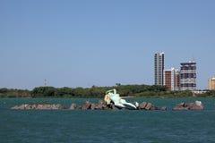 Meerjungfrau und Skyline von Petrolina und von Juazeiro in Brasilien Lizenzfreie Stockbilder