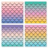 Meerjungfrauendstück-Mustersatz Papier herausgeschnittener Hauthintergrund der Fische 3d Pastellspektrumfarben vektor abbildung