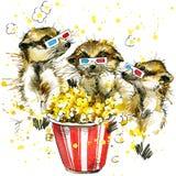 Meerkat divertente, fondo dell'acquerello Fotografia Stock Libera da Diritti