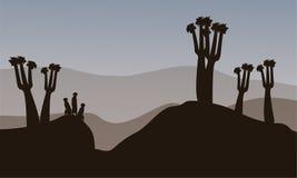 Meerkat kontur i kullarna stock illustrationer