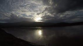 Meermening bij zonsondergang stock footage