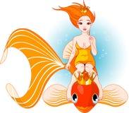 Meermin die op een gouden vis berijdt Royalty-vrije Stock Foto's