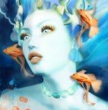 Meermin in een blauw onderwaterlandschap royalty-vrije illustratie