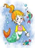 Meermin en vissen vector illustratie