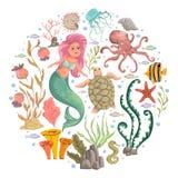 Meermin, mariene planten en dieren Elementen van het inzamelings de decoratieve ontwerp Beeldverhaal overzeese flora en fauna in  royalty-vrije illustratie