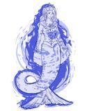 Meermin op blauwe waterverfachtergrond Koningin van onweer Ontwerp voor druk, affiche, banner stock illustratie