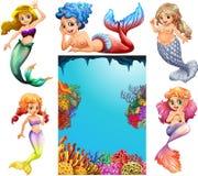 Meerminkarakters en onderwaterscèneachtergrond stock illustratie