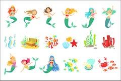 Meerminnen en Onderwateraardstickers De leuke Geïsoleerde Illustraties van de Beeldverhaal Kinderachtige Stijl vector illustratie