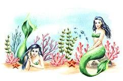 Meerminnen onder het water, Waterverfhand getrokken illustratie stock illustratie