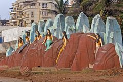 Meerminnen op rotsen Royalty-vrije Stock Afbeeldingen