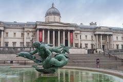 Meerminstandbeelden op fontein op Trafalgar-vierkant in Londen Royalty-vrije Stock Afbeeldingen
