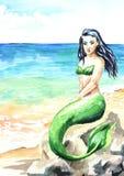 Meerminzitting op het strand Waterverfhand getrokken die illustratie, op witte achtergrond wordt geïsoleerd stock illustratie