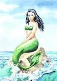 Meerminzitting op het strand, Waterverfhand getrokken illustratie vector illustratie