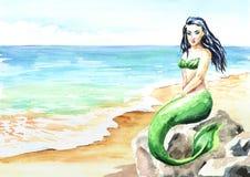 Meerminzitting op het strand Waterverfhand getrokken illustratie stock illustratie