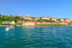 Meersburg Waterfront. View from the Lake Constance to the city of Meersburg Royalty Free Stock Images