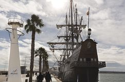 Meertros van Galeon in de Haven van Alicante Royalty-vrije Stock Foto
