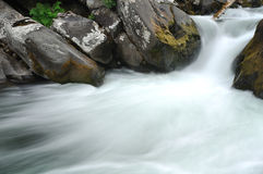 Meeslepend rivierwater over bemoste rotsen Royalty-vrije Stock Afbeelding