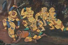 Meesterwerk van traditioneel Thais stijl het schilderen art. Stock Foto's