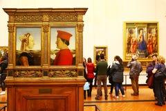 Meesterwerken in Uffizi-galerij, Florence stock foto's