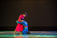 Meet again-Mother and child reunion-Mongolia nationality dance Stock Image