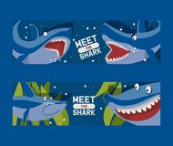 Meet big sharks set of banners vector illustration. Cartoon beautiful coral reef and fishes in blue sea background. Underwater nature and marine wildlife royalty free illustration
