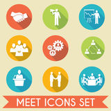 Meet business partners icons set Stock Image