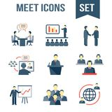 Meet business partners icons set. Business people meeting partners online and offline conference and presentation icons set isolated vector illustration Stock Photo