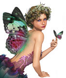 Meet a Butterfly CA. A little fairy with a butterfly in her hand Stock Images