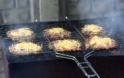 Meet with cheese on grill. B-B-Q stock image