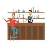 Meet and discuss at the bar with good friends. Flat and cartoon style. White background. Vector illustration Royalty Free Stock Photo