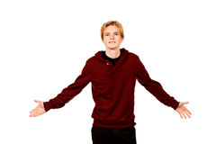 Meet fate. Young man standing with arms outstretched to the side of happiness. Isolated over white Royalty Free Stock Images