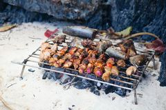Meet and fish grilled on a beach