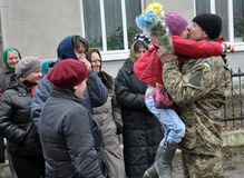 Meet the heroes from the war in Donbas_7. Zvinyache - Chortkiv - UKRAINE - February 25, 2015. Hundreds of villagers Zvinyache with tears of joy greeted his Royalty Free Stock Image