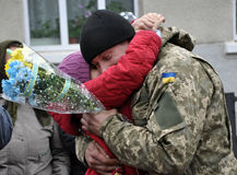 Meet the heroes from the war in Donbas_8. Zvinyache - Chortkiv - UKRAINE - February 25, 2015. Hundreds of villagers Zvinyache with tears of joy greeted his Stock Photo