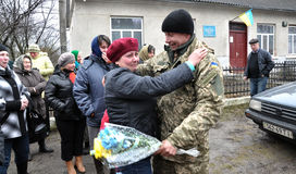 Meet the heroes from the war in Donbas_9. Zvinyache - Chortkiv - UKRAINE - February 25, 2015. Hundreds of villagers Zvinyache with tears of joy greeted his Stock Images