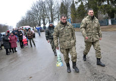 Meet the heroes from the war in Donbas_11. Zvinyache - Chortkiv - UKRAINE - February 25, 2015. Hundreds of villagers Zvinyache with tears of joy greeted his Stock Images