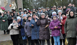 Meet the heroes from the war in Donbas_13. Zvinyache - Chortkiv - UKRAINE - February 25, 2015. Hundreds of villagers Zvinyache with tears of joy greeted his Royalty Free Stock Photos