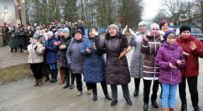 Meet the heroes from the war in Donbas_14. Zvinyache - Chortkiv - UKRAINE - February 25, 2015. Hundreds of villagers Zvinyache with tears of joy greeted his Stock Image