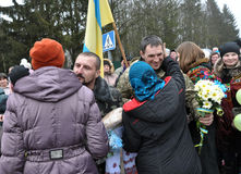 Meet the heroes from the war in Donbas_19. Zvinyache - Chortkiv - UKRAINE - February 25, 2015. Hundreds of villagers Zvinyache with tears of joy greeted his Royalty Free Stock Photography
